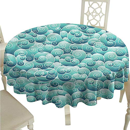 Wave Bistro Table - Round Tablecloth Plaid Teal,Ornamental Abstract Style Wave,for Bistro Table