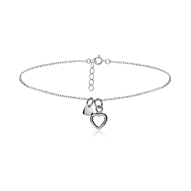 Sterling Silver Double Heart Chain Anklet