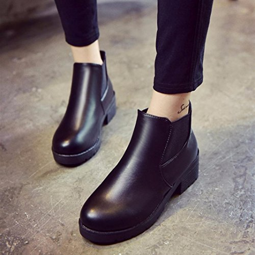 Jamicy Donna in pelle tacco basso casual stivaletti scarpe