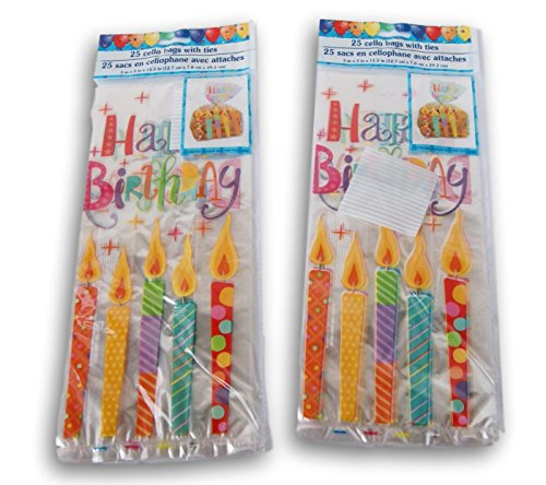 Way to Celebrate Happy Birthday Candles Party Favor Loot Bag - 40 Count