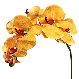 "Silk Flower Garden 2 Pcs Artificial Butterfly Orchid Spray 38"", Golden Yellow 75"