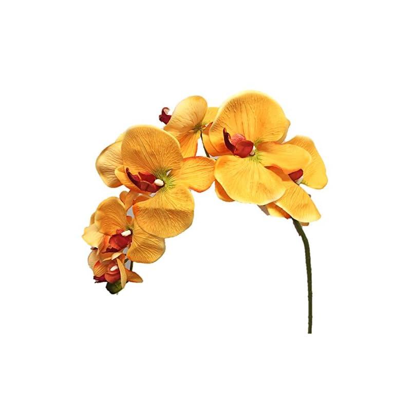 """silk flower arrangements silk flower garden 2 pcs artificial butterfly orchid spray 38"""", golden yellow"""