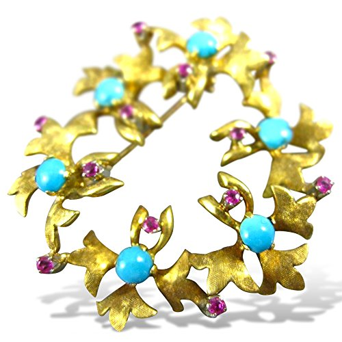 Floral 18k Brooch (Milano Jewelers AAA TURQUOISE RUBY 18K YELLOW GOLD FLORAL WREATH CIRCLE BROOCH PIN #1956)