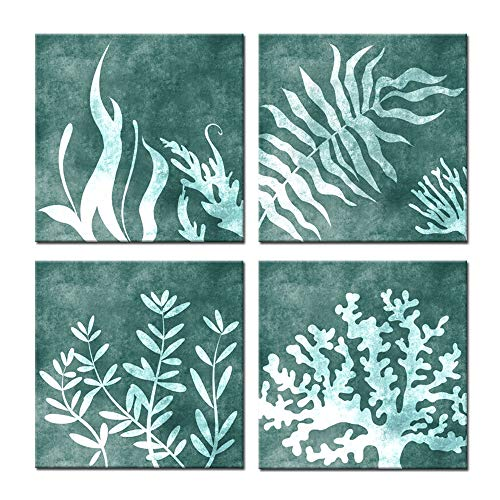 (Kreative Arts Sea Coral Set of 4 Giclee Fine Art Prints Green Pictures Wall Decor Sea Fan Poster Canvas Painting with Frame Ready to Hang Coastal Home Decor Bathroom Decorations (12x12inchx4pcs))