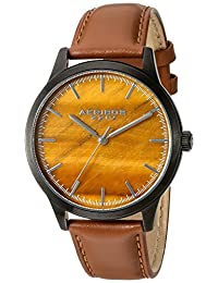 Akribos XXIV Men's Quartz Stainless Steel and Leather Automatic Watch, Brown (Model: AK937TN)