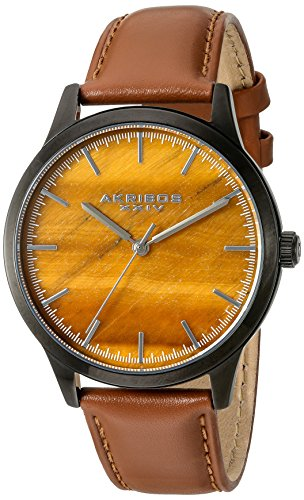 Akribos XXIV Men's Black Case with Tiger Eye Dial on a Cognac Brown Genuine Leather Strap Watch AK937TN