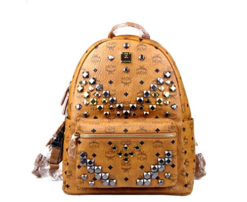 MCM UniSex Brown Coated Canvas Medium Studded Backpack MMK6SVE18CO001