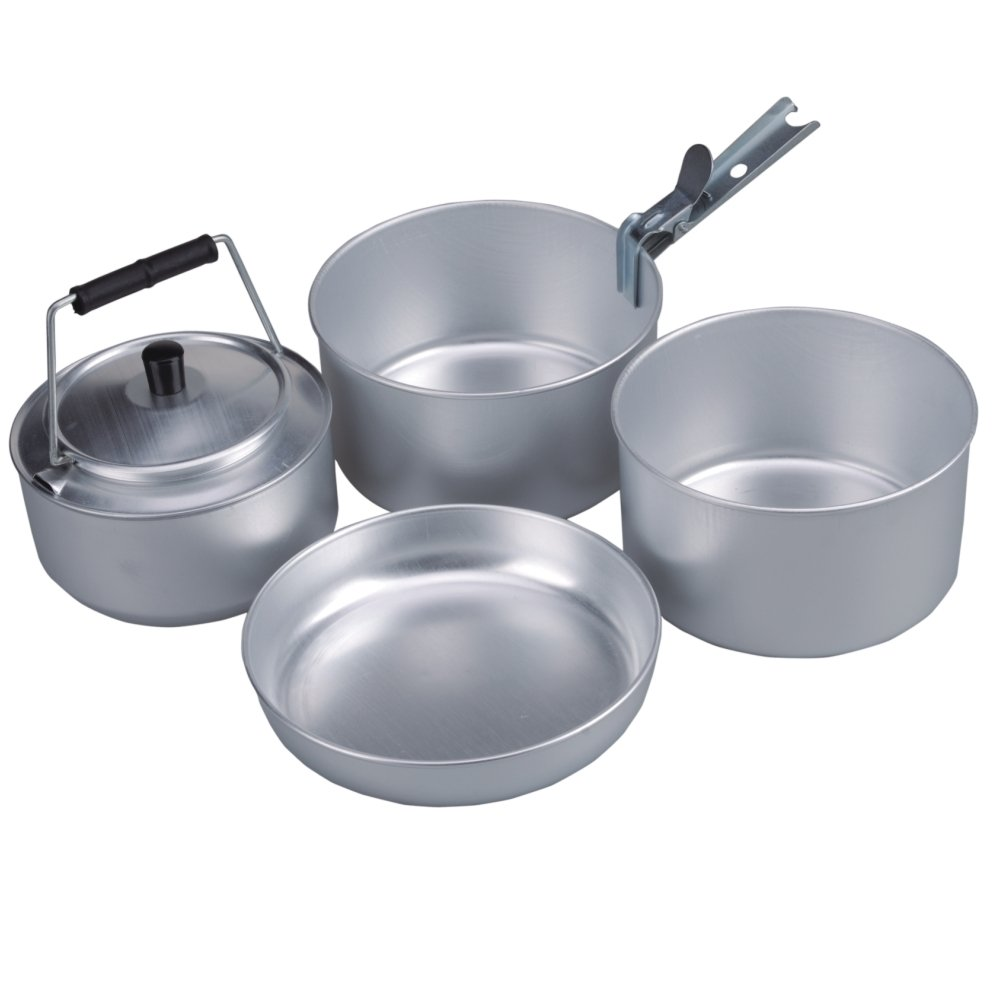 AceCamp Camping Pan Cook Set for 4 People, Stackable, Aluminum Cooking Set Cookware, Compact, 1652