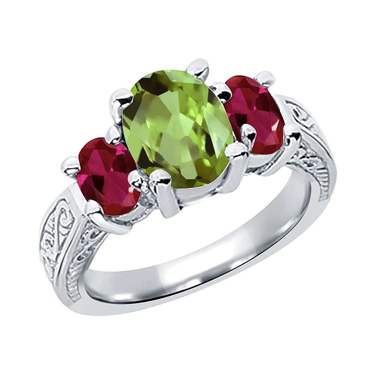 2.71 Ct Oval Green Peridot Red Created Ruby 925 Sterling Silver 3-Stone Ring (Available in size 5, 6, 7, 8, 9)
