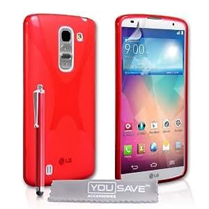 Yousave Accessories LG G Pro 2 funda de silicona rojo x-Line con lápiz capacitivo