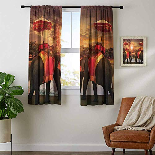 youpinnong Asian, Window Curtain Drape, Animals Dressing Traditional Costumes Standing in Front of Pagoda Patience Symbol Print, Curtains for Bathroom, W72 x L45 Inch Multi -