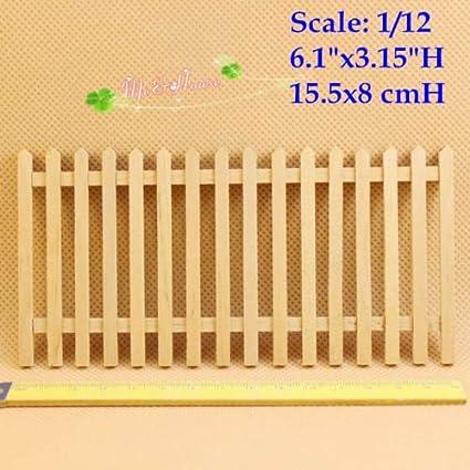 Amazon.com: 1/12 Dollhouse Miniature Fences Picket Fence Wall Decor ...