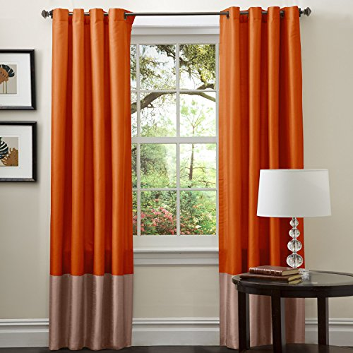 Lush Decor Prima Color Block Rust and Brown Window Curtains Panel Set for Living, Dining Room, Bedroom (Pair), 54 x 84-inch, inch inch