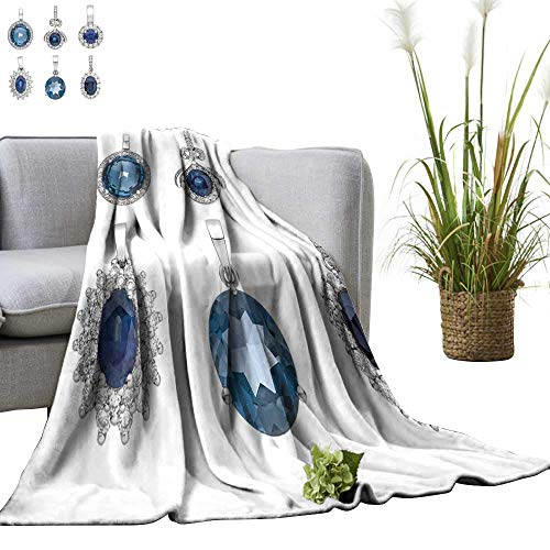 YOYI Single-Sided Blanket Pend ts Sapphire Isolate on White backgroun Fashion Jewelry for Bed & Couch Sofa Easy Care 50
