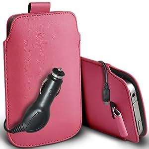ONX3 Nokia Lumia 1520 Leather Slip cuerda del tirón de la PU de protección en la bolsa del lanzamiento rápido con 12v Micro USB cargador de coche (Baby Pink)