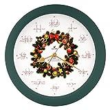 Elegant 14-inch 12 Song of Carols of Christmas Wreath Melody Wall Clock, Sweep Silent Quartz, Home Wall Deco Clock (WR Green)