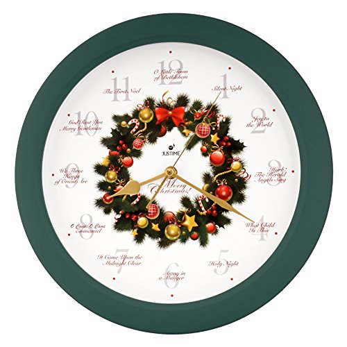 Elegant 14-inch 12 Song of Carols of Christmas Wreath Melody Wall Clock, Sweep Silent Quartz, Home Wall Deco Clock (WR Green) by JUSTIME