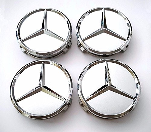 Ycsm 4 Pcs 75mm Silver Wheel Cover Hub Center Caps For Apply to Mercedes-Benz (Alternatives)