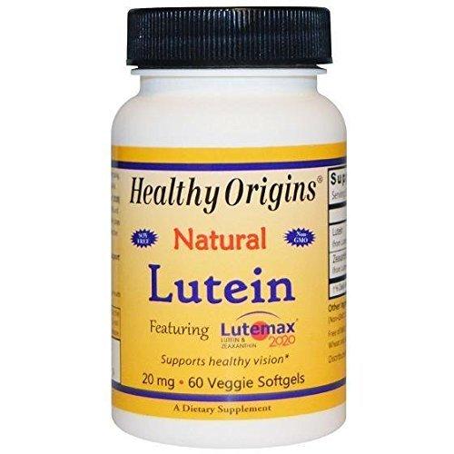 Healthy Origins Lutein - Natural - Lutemax 2020 - 20 mg - 60 Vegetarian Softgels