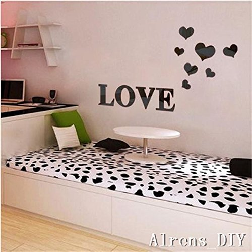 Alrens_DIY(TM) 11pcs Love Letter Hearts DIY Patterns TV Background Decor Mirror Surface Crystal Wall Stickers Acrylic 3D Home Decal Living Room Murals Wall Paper adesivo de parede