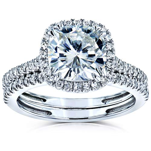 Cushion Brilliant Moissanite Halo Bridal Wedding Rings Set 2 3/8 CTW 14k White Gold (FG/VS, GH/I), 7.5