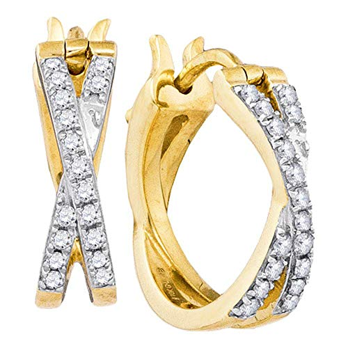 The Diamond Deal 10kt Yellow Gold Womens Round Pave-set Diamond Double Row Crossover Hoop Earrings 3/8 Cttw