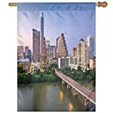 HUANGLING Austin Texas American City Bridge Over The Lake Skyscrapers USA Downtown Picture Home Flag Garden Flag Demonstrations Flag Family Party Flag Match Flag 27''x37''