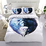 3 Pieces Print Duvet Quilt Set - White Queen and King Multi Animals Pattern Microfiber Comforter Quilt Bedding Cover with Zipper Closure, for Men and Women (Lion, Queen)