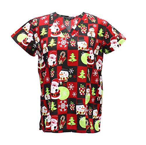 Cassandra Women's Christmas Winter Holiday Festive Medical Nursing Tie Back Scrub Top Shirt (Black/Red Santa, X-Large) -