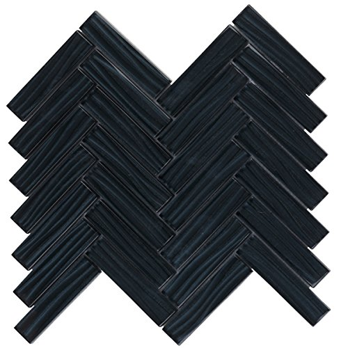 Modket TDH80MO Black Metallic Wave Cold Spray Glass Mosaic Tile Herringbone Pattern Backsplash