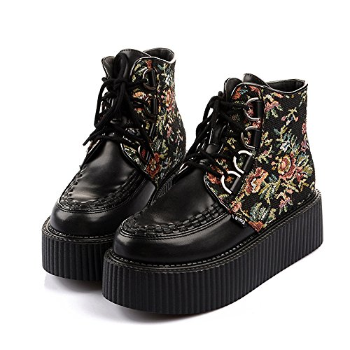 Punk Lacets Gothique Flats Femmes Chaussures Roseg Creepers Cuir Broderie Bottes wAYtx7faq7