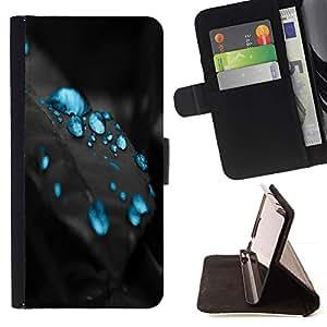 For Samsung Galaxy A5 ( A5000 ) 2014 Version Case , Gotas azules- la tarjeta de Crédito Slots PU Funda de cuero Monedero caso cubierta de piel