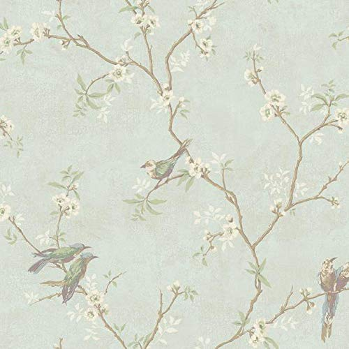 Wallpaper Traditional Floral Vine with Cute Birds on Soft Peal Blue Background