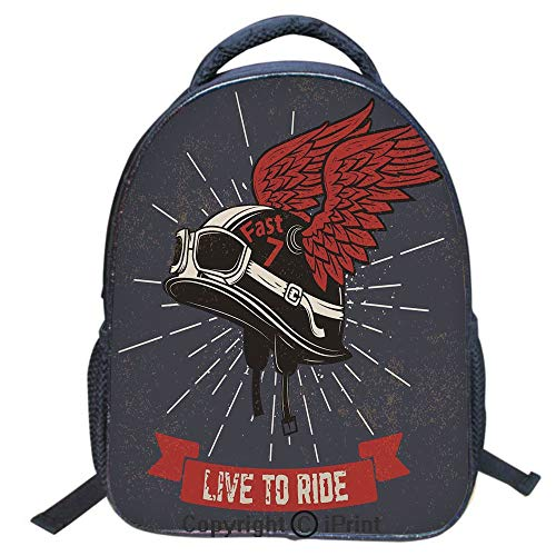 Waterproof Cute School Backpack for Boys and Girls,Water Resistant Fashion College Book Bag Unisex,16 inch,Live to Ride Quote and Helmet with Wings Motorcycle Lover Grunge ()