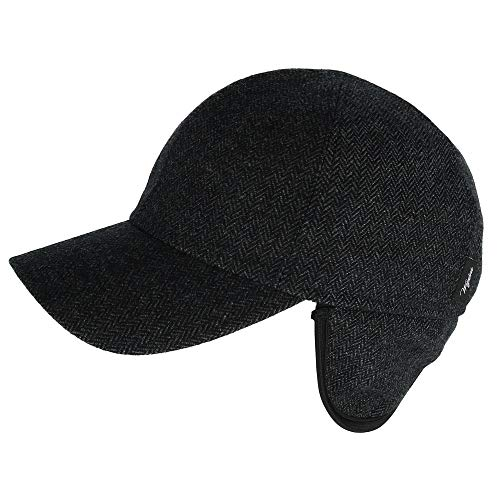 Wigens Men's Herringbone Blend Baseball Cap with Earflaps, 57, Black