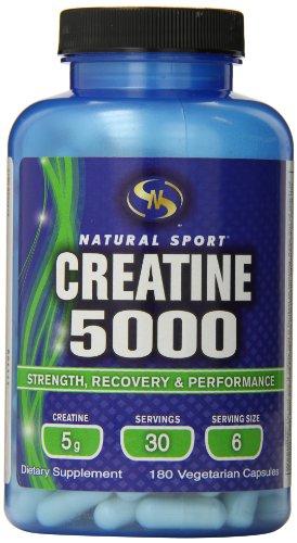 Natural Sport Creatine 5000 Vegetarian Capsules, 180 Count -