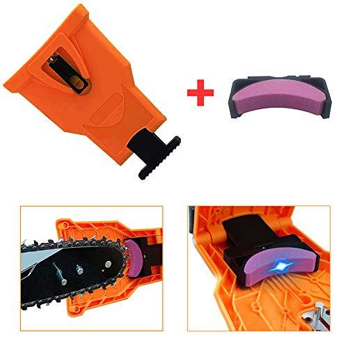 VINCREY Chainsaw Sharpener, Portable Chainsaw Teeth Sharpener Work Sharp Chain Saw Sharpener with A Sharpening Stone (Orange)