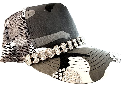 Swarovski Cap Cotton (Black Camo Crystal Bling Trucker Hat)