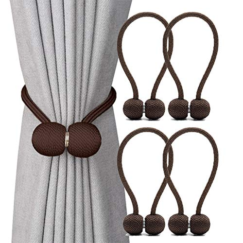DEZENE Magnetic Curtain Tiebacks,The Most Convenient Drape Tie Backs,Decorative Rope Holdback Holder for Big,Wide or Thick Window Drapries,4 Pack(16 Inch Long),Chocolate
