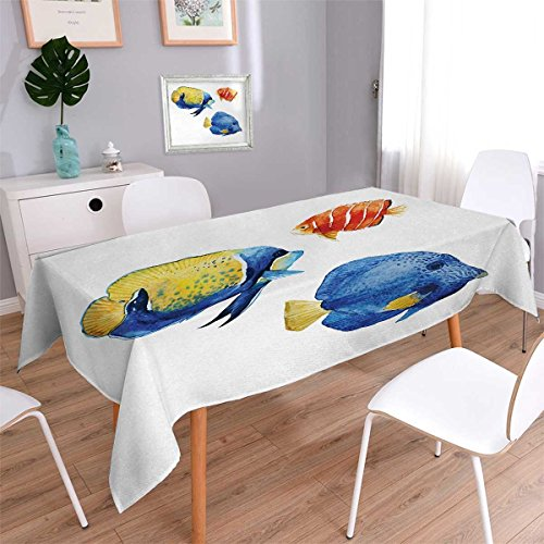 Anmaseven Fish Oblong Washable Tablecloth Tropical Aquarium Life Discus Fish and Goldfish in Different Patterns Waterproof Tablecloths Azure Blue Yellow Scarlet Size: W60 x L84