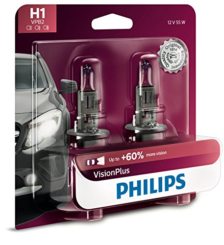 Philips H1 VisionPlus Upgrade Headlight Bulb with up to 60% More Vision, 2 Pack