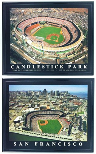 Framed San Francisco Giants, Aerial Candlestick and AT&T Park Stadium Prints (Set of 2)