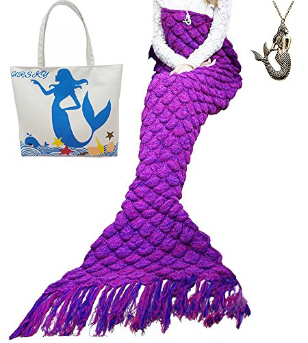 [URSKY Handcrafted Crochet Knitted Mermaid Tail Blanket For Teens and Adults, Soft Sofa Mermaid Blanket Sleeping Bag (71
