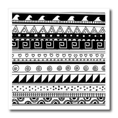 3dRose ht_113132_3 ブラック ホワイト 部族 モダン 抽象 アステカ スタイリッシュ コンテンポラリーシェイプ - 熱伝達 素材 10 x 10インチ ホワイト   B00COT94PW