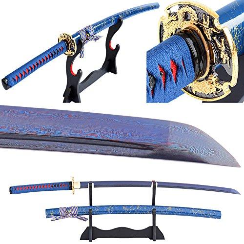 Blue Blade Real Sharp Japanese Samurai Sword Handmade Full Tang Katana