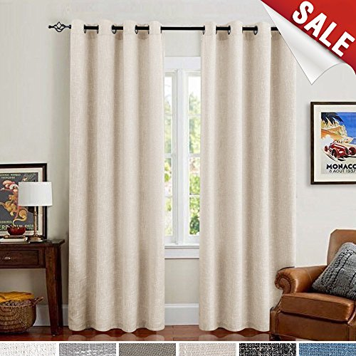 Burlap Linen Curtains for Living Room 63 inch Length Curtain Panels for Bedroom (Set of Two, ()