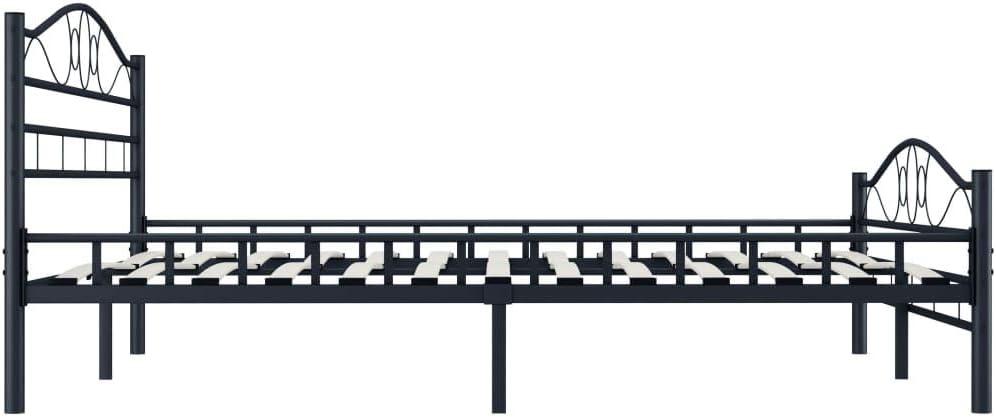Nero Adulti Lechnical Struttura Letto Matrimoniale in Metallo per Bambini Letto testiera in Metallo con robuste doghe in Compensato Adatto per Materasso 180x200cm mobili per Camera da Letto