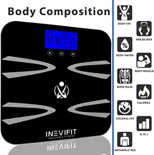 INEVIFIT Body-Analyzer Scale, Highly Accurate Digital Bathroom Body Composition Analyzer, Measures Weight, Body Fat, Water, Muscle, BMI, Visceral Levels Bone Mass for 10 Users. 5-Year Warranty