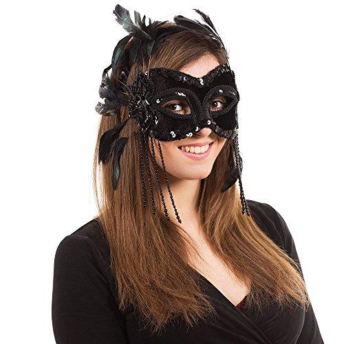 - Bristol Novelty EM196 Velvet Eye Mask with Feathers on Headband, Black, One Size