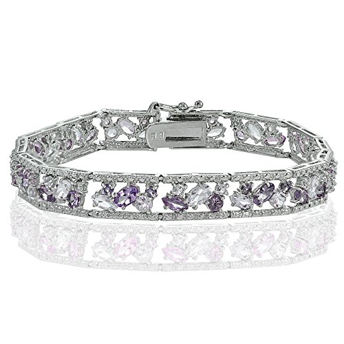 Sterling Silver African Amethyst and Amethyst Cluster (Sterling Silver African Amethyst Bracelet)